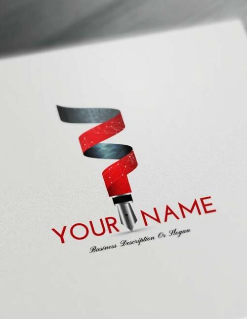 3D RED Fountain Pen Logo Design Maker - Free Logo Maker Online