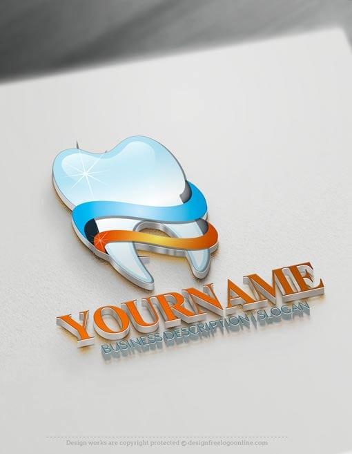 Free 3D dental logo maker dentist Logo design