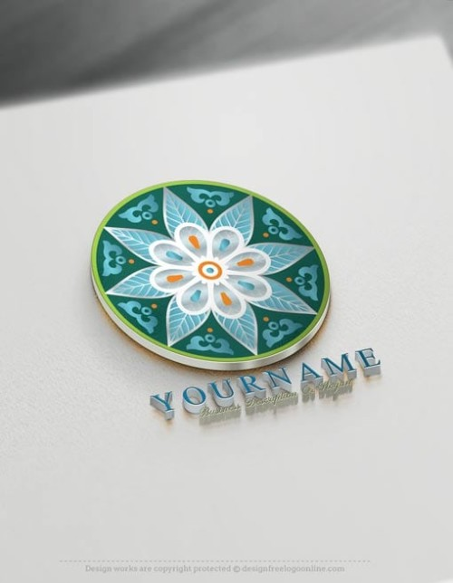 Green Flower Mandala Logo Design Free Mandala Pattern Logo Maker