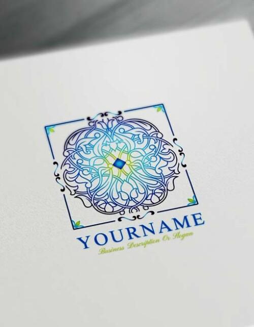 Blue Square Pattern Logo Design Free Mandala Logo Maker Online