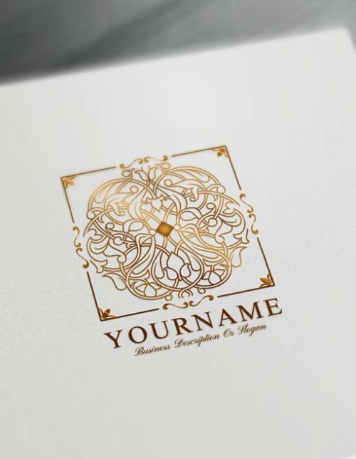 Gold Square Pattern Logo Design Free Mandala Logo Maker Online