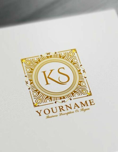 Golden Pattern Letters Logo Design Free Alphabet Logo Maker Online