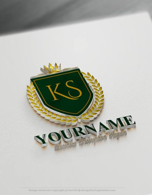 royal green Luxurious Logo maker with crown