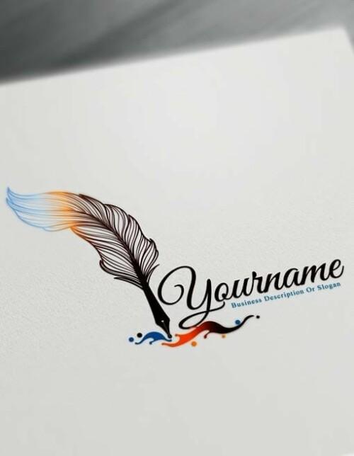 Fountain Pen Logo Design Maker – Free feather pen Logo Maker Online