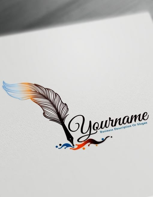 Fountain Pen Logo Design Maker – Free feather pen Logo Maker Online