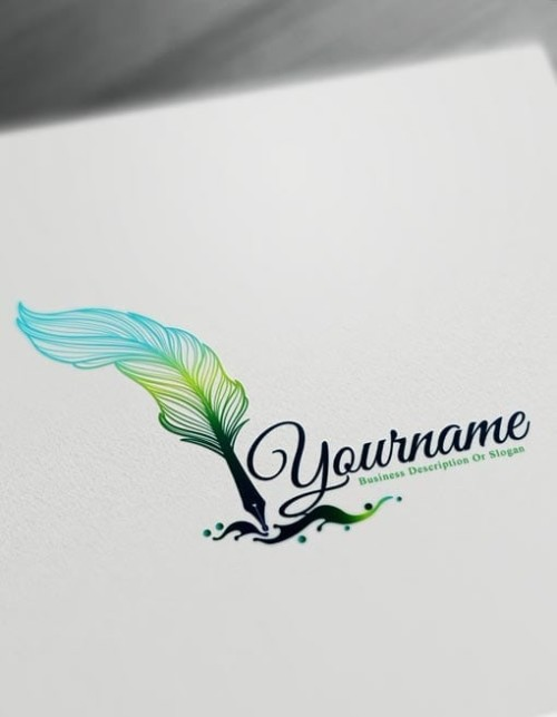 Green Fountain Pen Logo Design Maker – Free feather pen Logo Maker Online