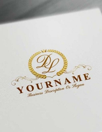 Make logo online Gold Laurel Wreath Logo Template Free Letters Logo Maker