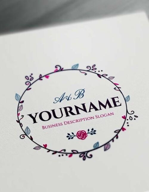 Online Floral Frame Logo Free Vintage Logo Maker