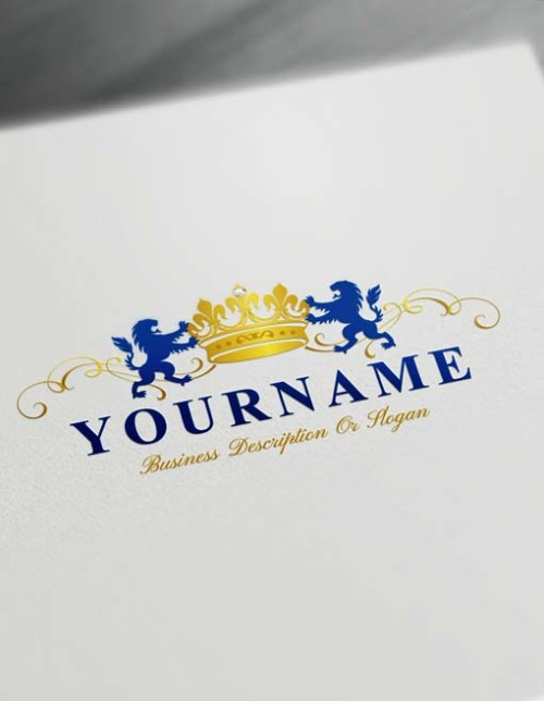 Royalty Crest blue lions logos Design your own crown Logo with the free Vintage logo maker