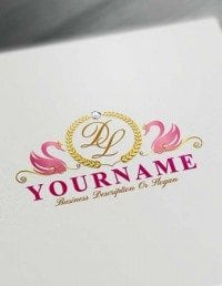 Online Pink Swans Logo Template Free royalty Letters Logo Maker