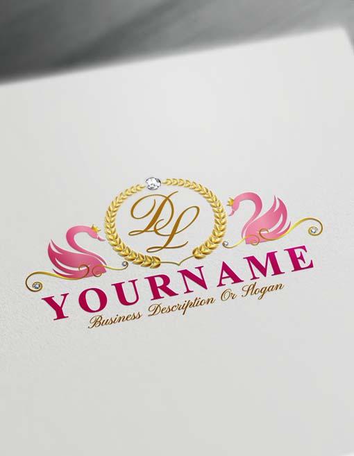 Online Pink Swans Logo Template Free royalty Letters Logo Maker