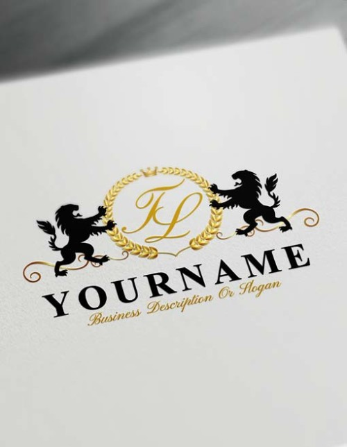 Make logo online - Royal Lions Logo Template Free golden Letters Logo Maker