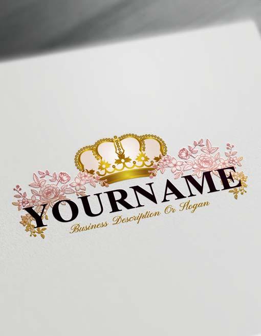 Online Roses Logo Template Free Royal Crown Vintage Logo Maker