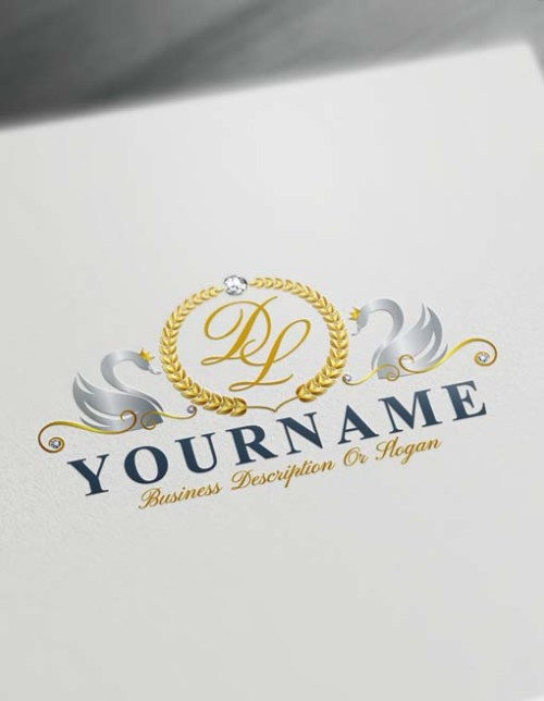 Online silver Swans Logo Template Free royalty Letters Logo Maker
