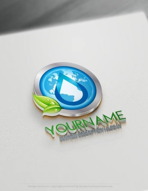 3D Blue Globe Drop Logo Free Logo Maker