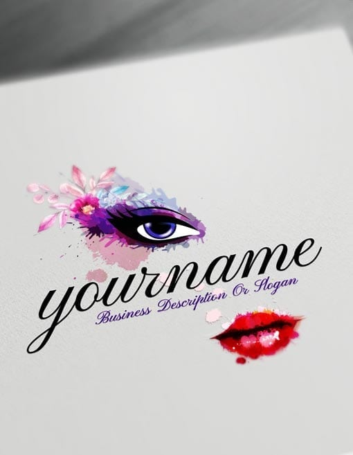 Make Sexy beauty Logo with Free watercolor makeup Logo maker