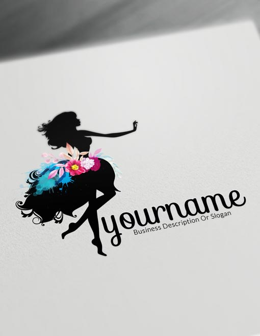 Black Woman with watercolor Flowers Logo template