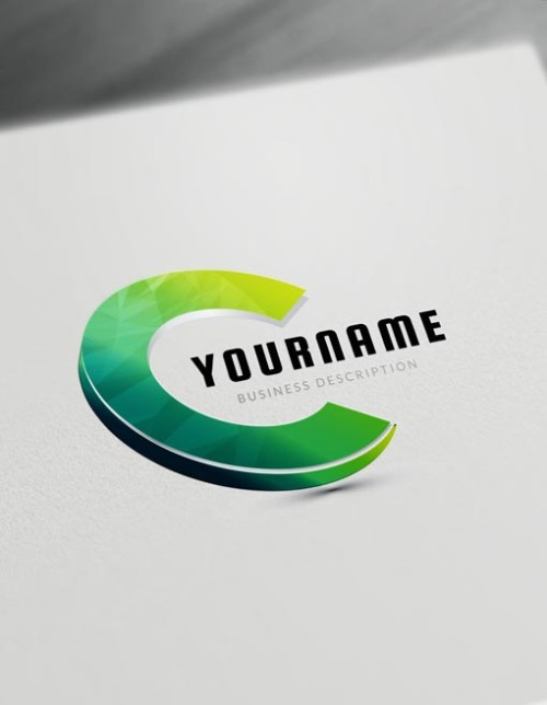 Gold 3D Logo Maker letter C logo creator - free online logo maker and download