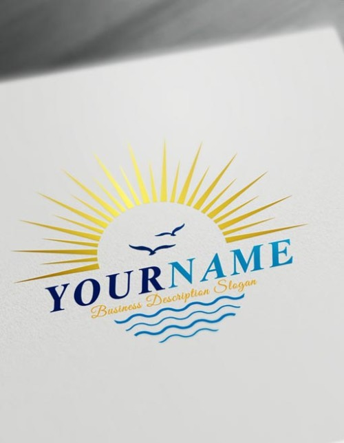 Sun Logo Design. Hotel Sea logos Sun logo maker