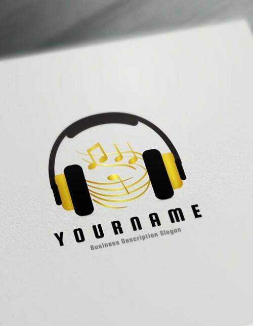 Gold Music Logo Design Online Create a Logo D.J logos - Music Logo Maker Online