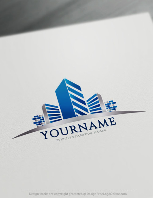 Free Construction Logo Maker - Real estate Blue Building Logo Design Ideas