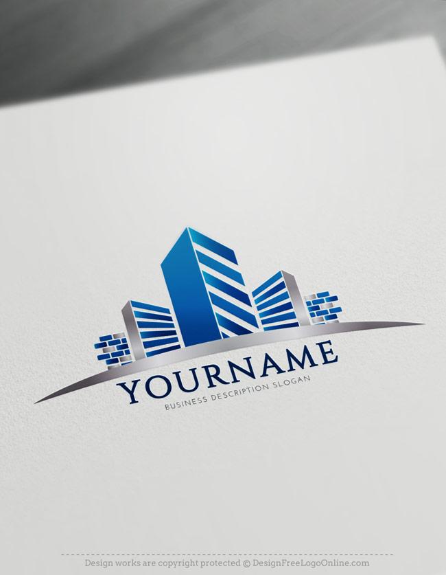Free Construction Logo Maker - Real estate Blue Building Logo Design Ideas