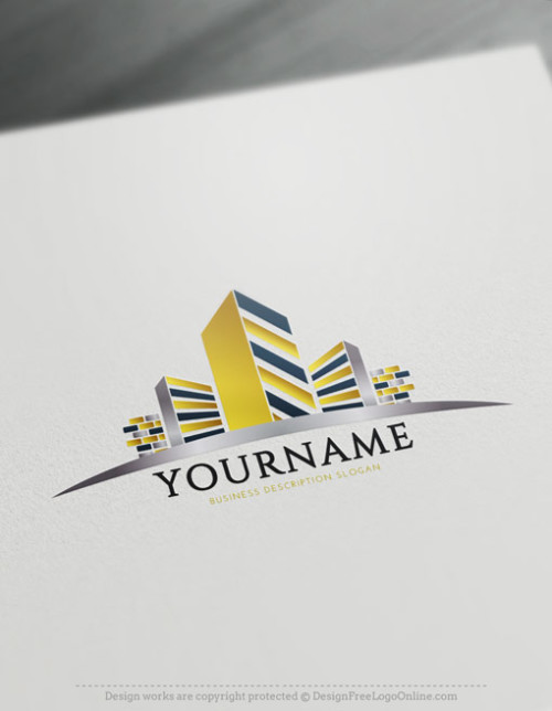 Free Construction Logo Maker - Real estate Gold Building Logo Design Ideas