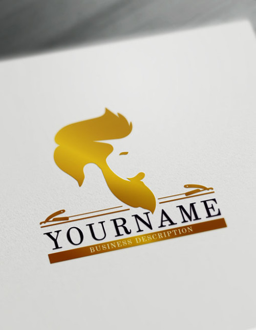 Gold Barber Shop Logo Maker - Create Cool Barber Logos