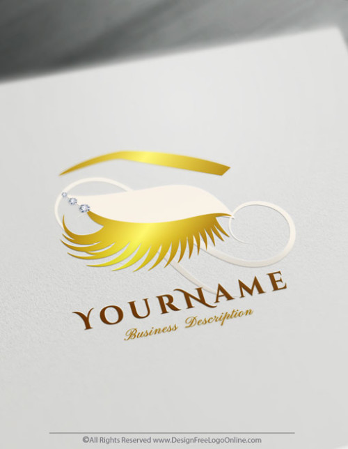Create Gold Eyelashes Logo with free logo design templates