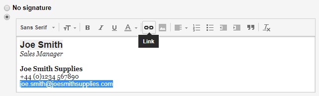 Gmail Email signature - adding links