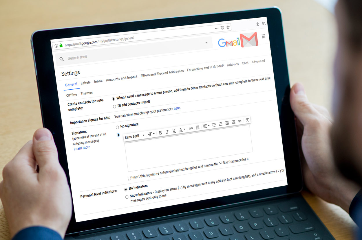 add your Email signature in Gmail