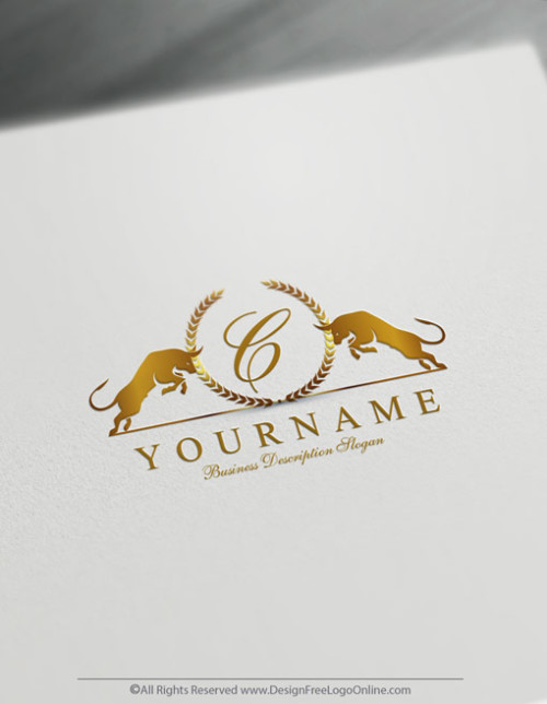 Create Monogram Logo For Free with our Bull Logo Template
