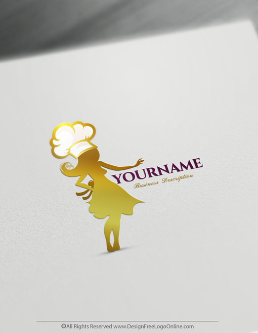 Make a food logo for free with the golden woman Chef design Maker
