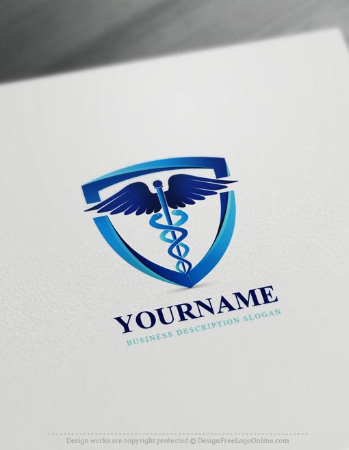Create a blue Caduceus Logo online