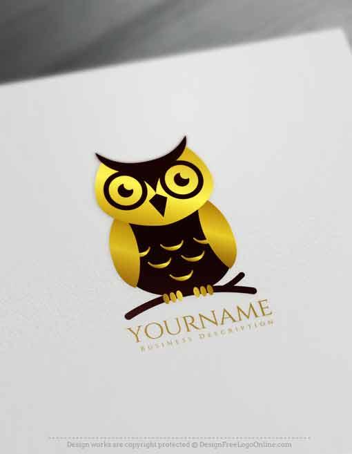 Golden owl logos