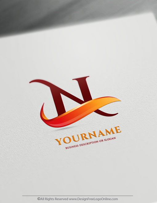 customize your new 3D fiery red wave logo branding