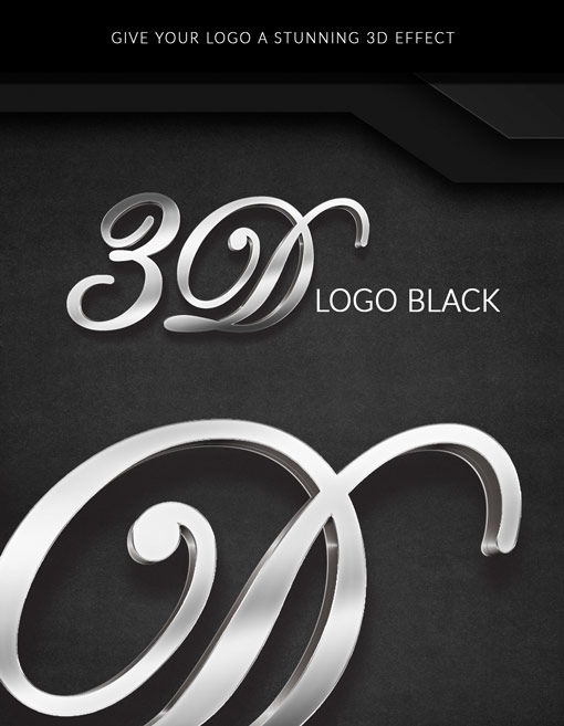 3D metallic logo on black background