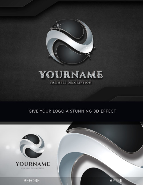 3D Logo Black - Give your logo a metallic 3D effect on black background