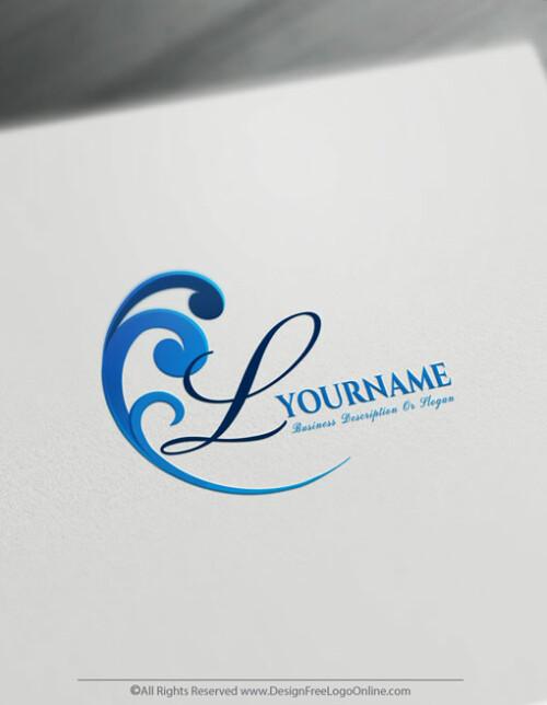 Sea blue wave logo maker