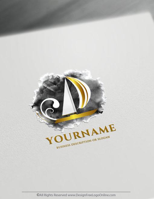 Golden sailing logos branding