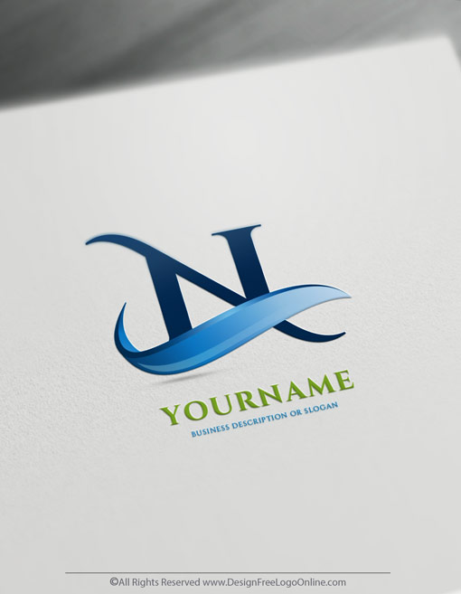 customize your new 3D blue wave logo branding