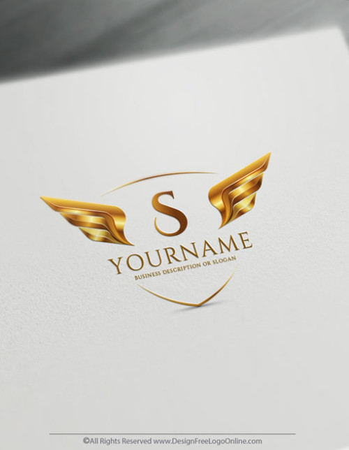 Golden shield wings logo with free logo design templates