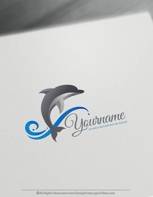 Use the free online logo maker, build a new grey dolphin logo idea