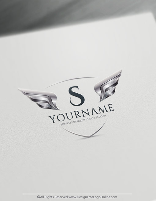 3D shield with metallic silver wings logo