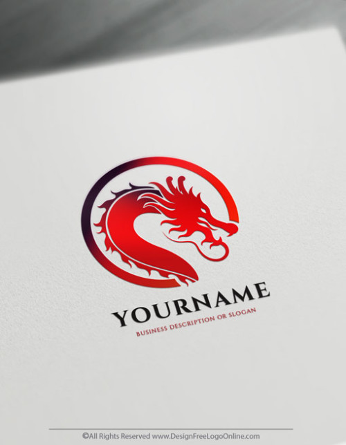 Red Head Of Chinese Dragon Logo