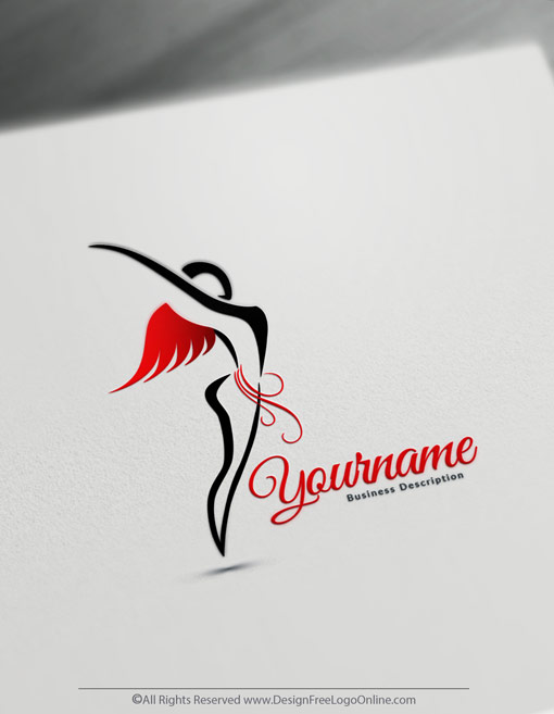 customize a red flying woman logo