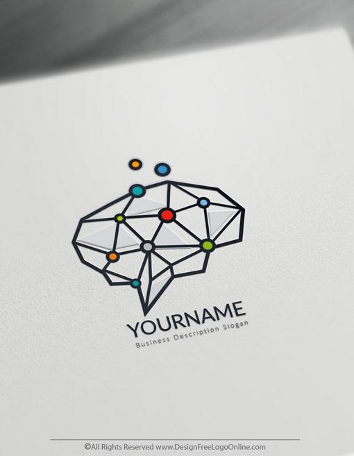 Minimalist Digital Brain logo maker