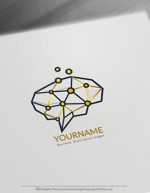 Minimalist Digital Brain logos
