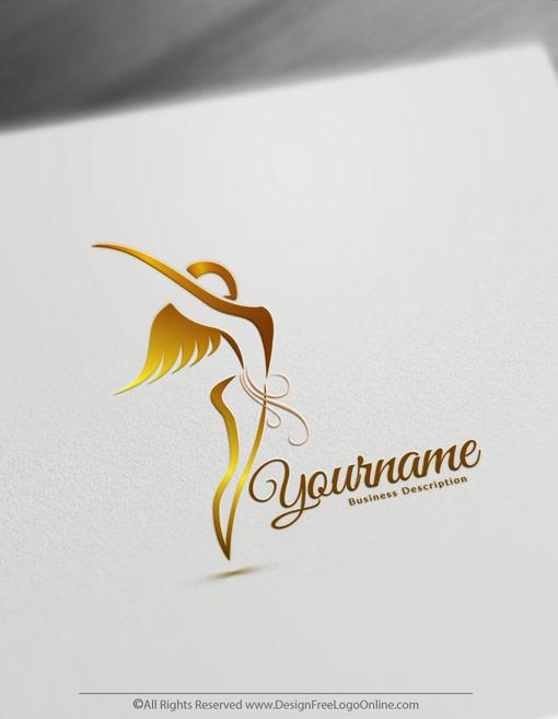 customize a golden flying woman logo