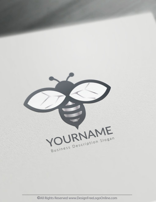 Instantly customize a silver Minimalist Bee logo